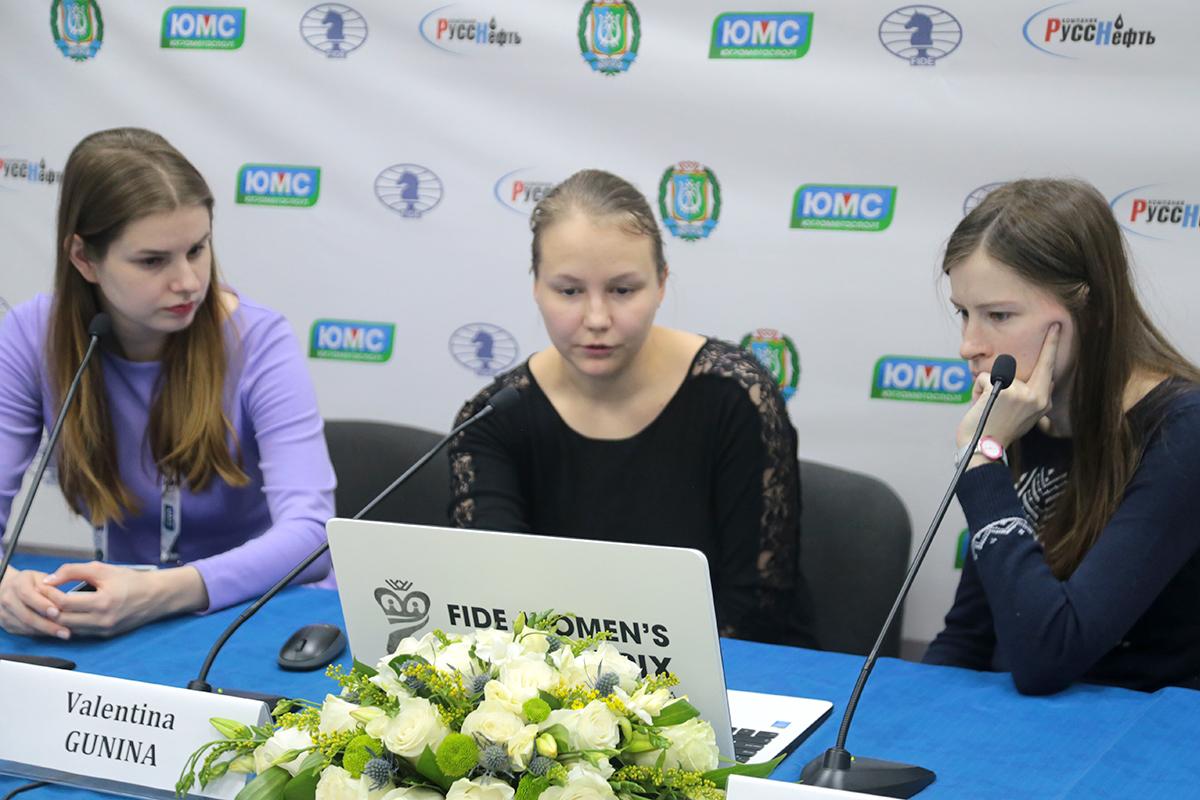 Eteri Kublashvili and Natalia Pogonina (RUS) and Valentina Gunina (RUS)