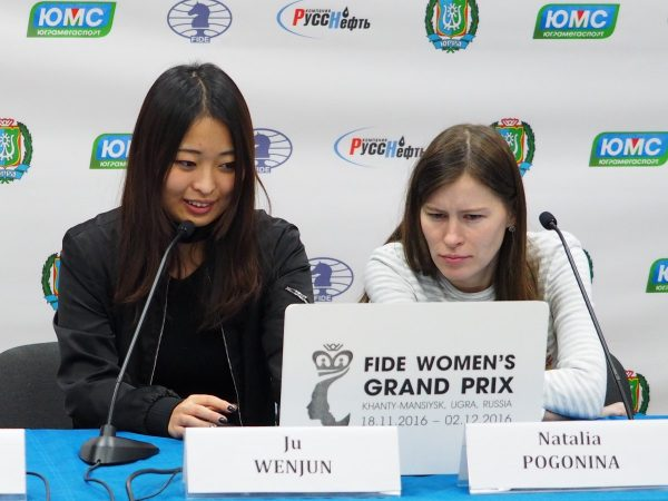 Natalia Pogonina (RUS) and Ju Wenjun  (CHN)